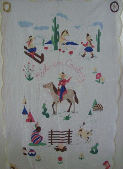 1950s ride em cowboy quilt sold cindy rennels antique Interesting Vintage Cowboy Quilt Gallery