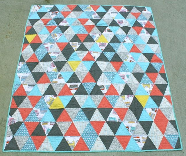 60 degree triangle quilt whipstitch Cozy Triangle Quilt Tutorial