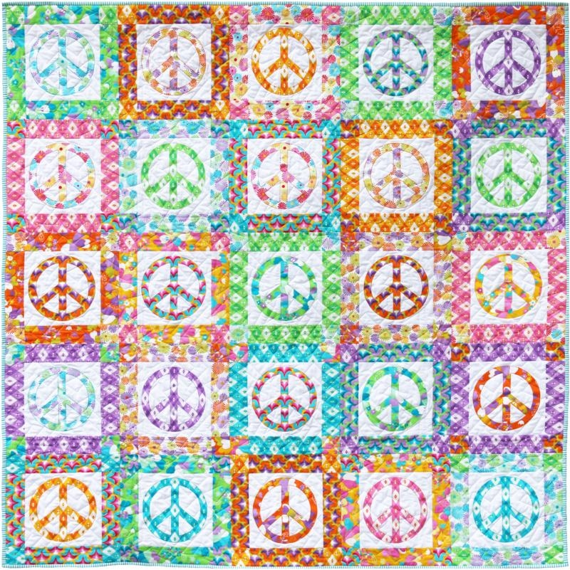 60s scrapbag emma jean jansen peace quilt spin cycle quilt Peace Sign Quilt Pattern Inspirations
