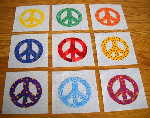 9 bright colors peace sign quilt top blocks Peace Sign Quilt Pattern Inspirations