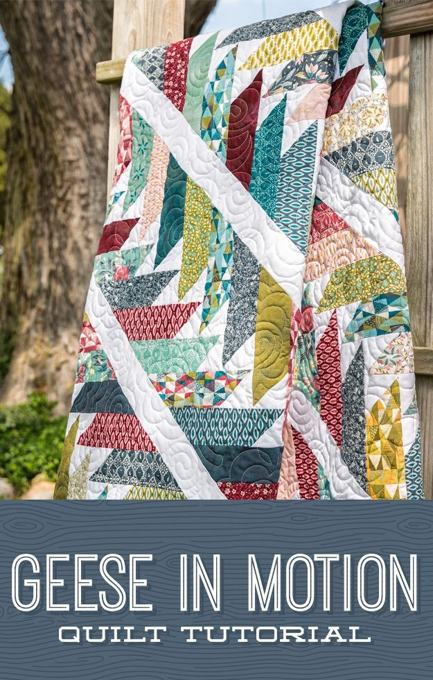 a beautiful migrating geese quilt pattern using a binding Cool Migrating Geese Quilt Pattern
