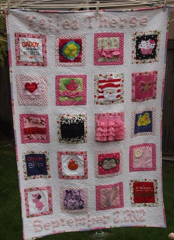 a very cute memory quilt featuring ba clothes saved and Cool Frames For Ba Baby Quilts Inspirations