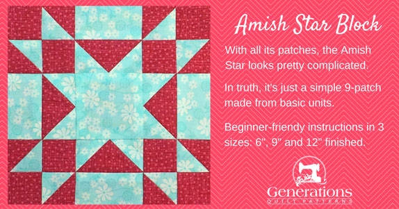 amish star quilt block 6 9 and 12 finished Modern Amish Quilt Block Patterns