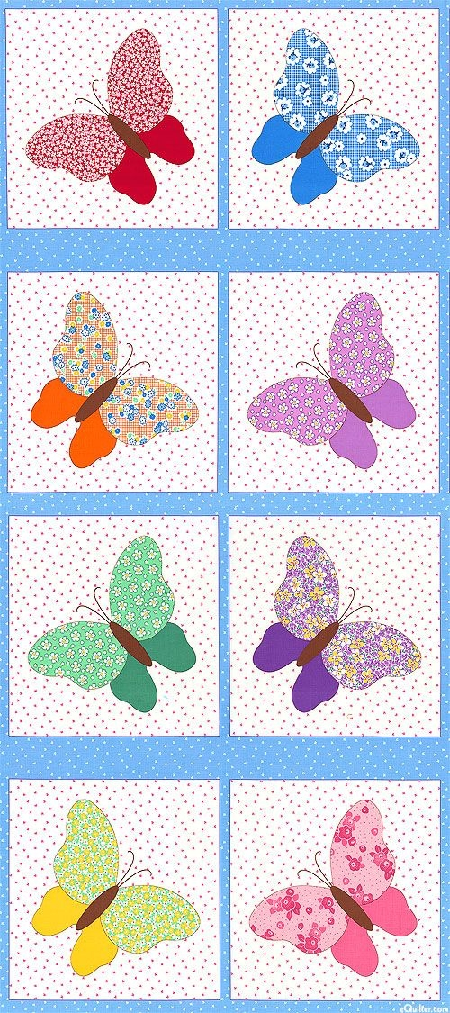 aunt ellas butterflies retro wings 24 x 44 panel Stylish Vintage Butterfly Quilt Block Patterns