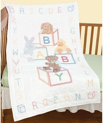 ba blocks crib quilt top stamped cross stitch kit Interesting Jack Dempsey Needle Art Baby Quilts
