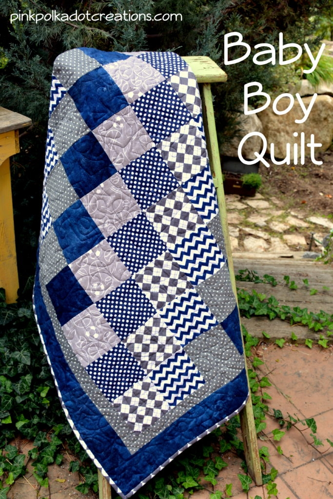 ba boy quilt pink polka dot creations Stylish Little Boy Quilt Patterns Gallery
