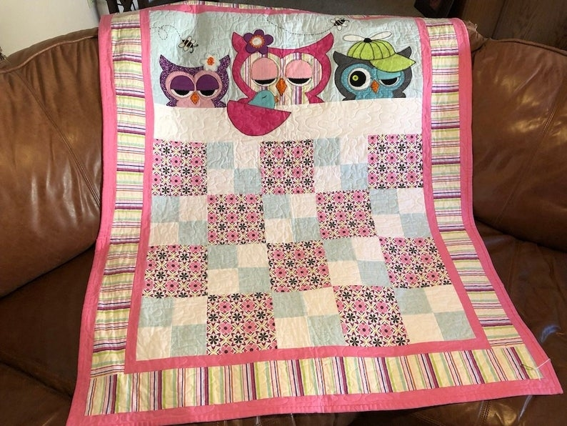 ba girl quilt pattern cute beginner owl quilting gift easy bed or wall hanging appliqu quilt patterns Cool Beginner Applique Quilt Patterns