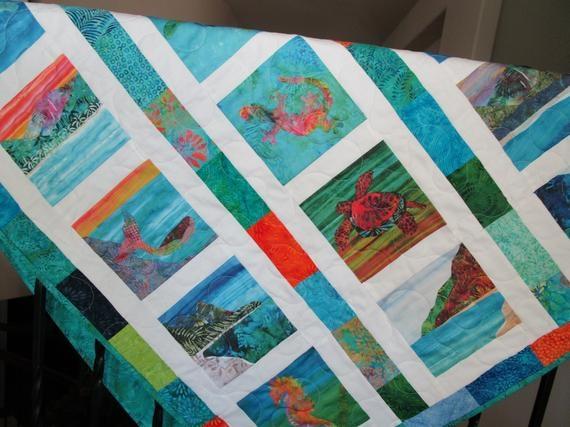 bali hai cool watercolors organic cotton sateen fabric quilt square tropical kauai hawaii New Bali Fabrics Quilting