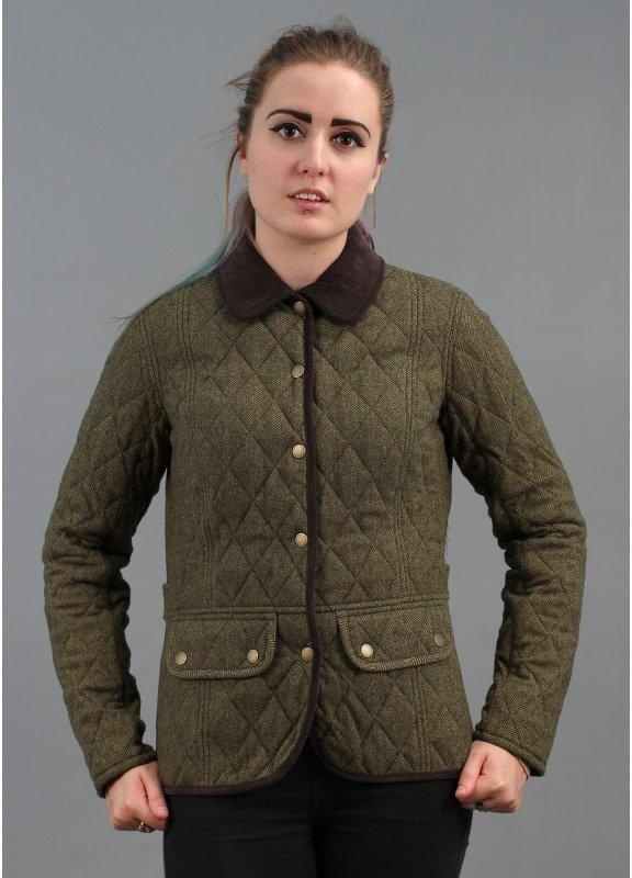 barbour dean tweed quilted jacket dark olive brown quilts Cool Barbour Vintage Tweed Quilted Jacket