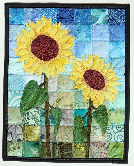 batik sunflowers quilted wall hanging art quilt pattern Cozy Sunflower Quilt Patterns Free