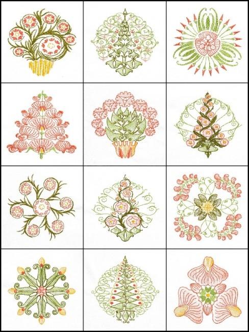 bfc1709 art nouveau floral quilt blocks Stylish Art Nouveau Quilt Patterns