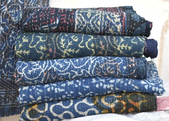 blue indigo kantha quilt vintage indigo kantha throw natural color indigo sari kantha blanket vegetable dyed kantha bedspread 5 pcs lot Vintage Indigo Quilt Gallery