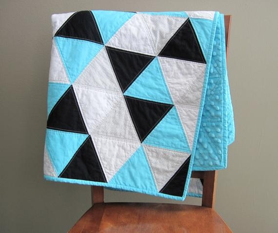 blue triangle ba quilt topaz blue black and white ba blanket ba boy quilt modern blue ba triangle quilt Interesting Triangle Baby Quilt Inspirations