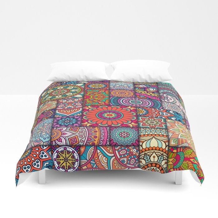 boho patchwork quilt pattern 2 duvet cover robincurtiss Interesting Patchwork Quilt Duvet Cover Pattern Gallery