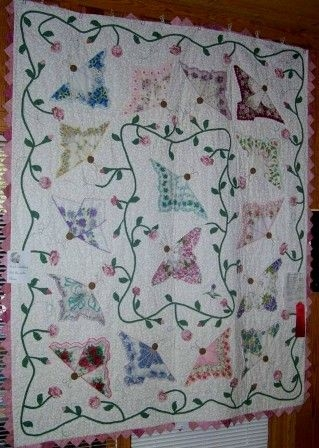 butterfly hankie quilt quilts butterfly quilt pattern Stylish Vintage Butterfly Quilt Block Patterns