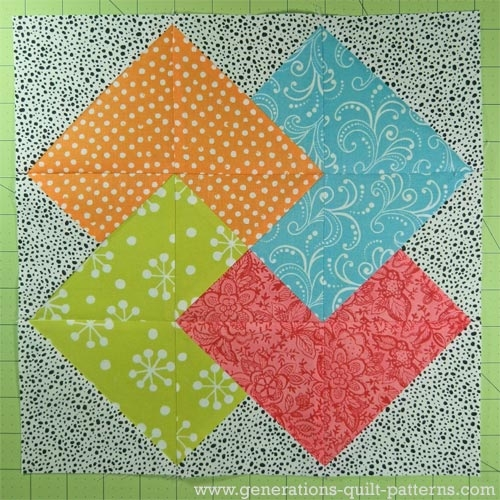 card trick quilt block from our free quilt block pattern library Cozy Easy Hand Quilting Patterns