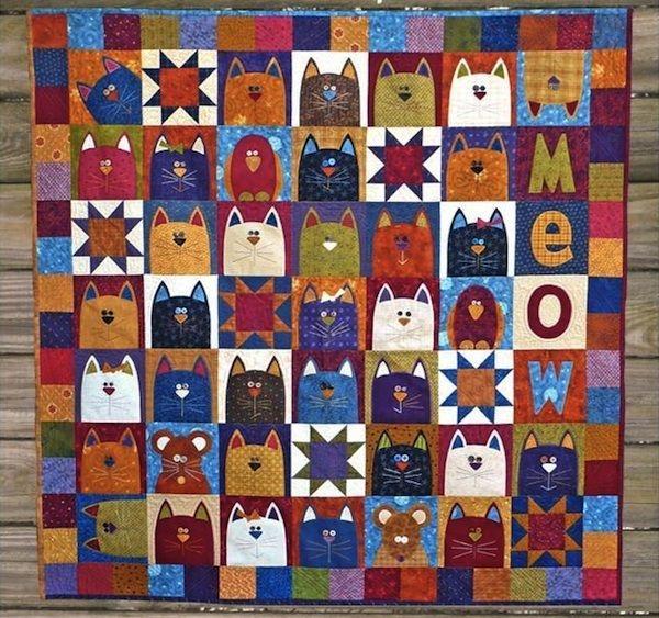 cat quilts on bluprint feline fabulous quilting patterns Cozy Cat Quilt Patterns Inspirations
