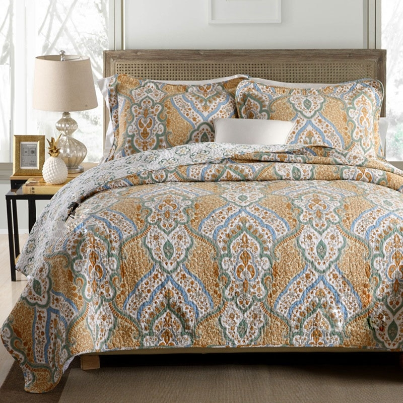 chausub quality vintage quilt set 3pcs coverlet washed Elegant Vintage Quilts And Bedspreads Inspirations