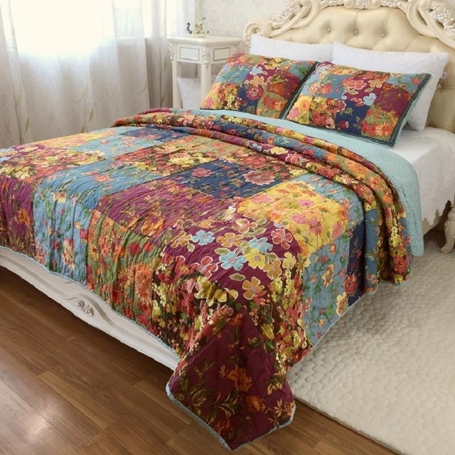chausub vintage patchwork quilt set 3pcs washed cotton Vintage King Size Quilts Inspirations