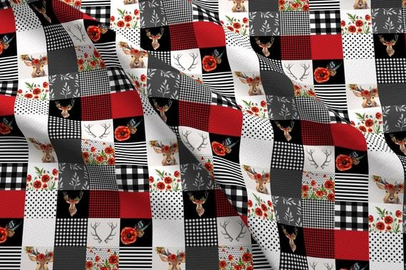 cheater quilt fabric deer in love whole cloth quilt shopcabin black and red woodland cotton fabric the yard with spoonflower Modern Quilting Fabric Whole