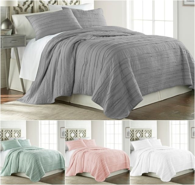chezmoi collection katy 3pc solid pre washed 100 cotton frayed edge quilt set Stylish Threshold Vintage Washed Quilt Inspirations