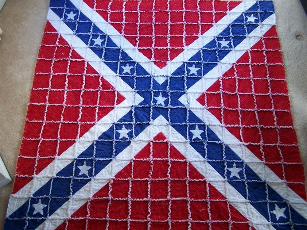 confederate battle flag rag quilt 54x565 hand made smoke Elegant Confederate Flag Quilt Patterns