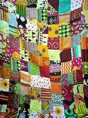 cottonassorted kantha quilt vintage handmade patchwork queen cotton kantha quilt ebay Interesting Handmade Patchwork Quilt Vintage Gallery