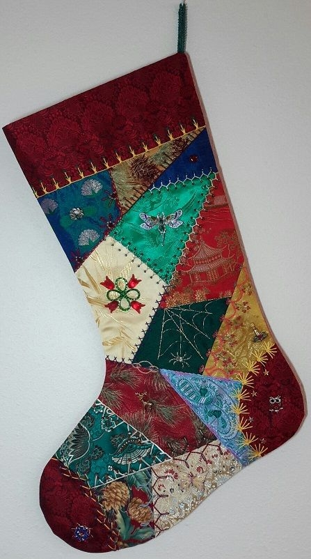 crazy quilt christmas stocking stuff quilted christmas Modern Quilted Stocking Patterns Gallery