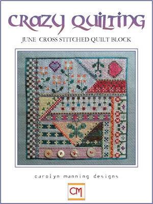 crazy quilting june quilt block cross stitch pattern Stylish Cross Stitch Quilt Patterns Inspirations