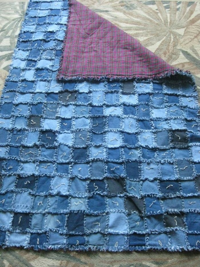 denim rag quilt pattern 5 25 unique blue jean quilts ideas Stylish Denim Patchwork Quilt Patterns Inspirations