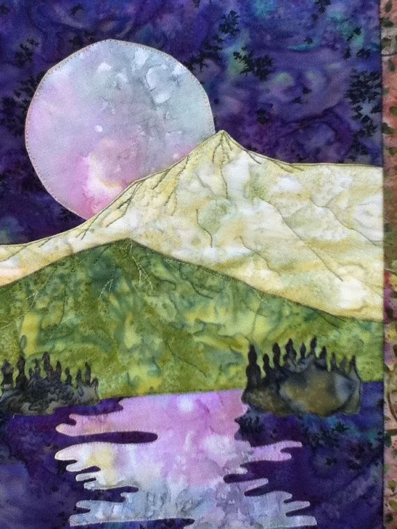 easy landscape art quilt pattern tutorial moon over the Cool Landscape Quilting Patterns Gallery