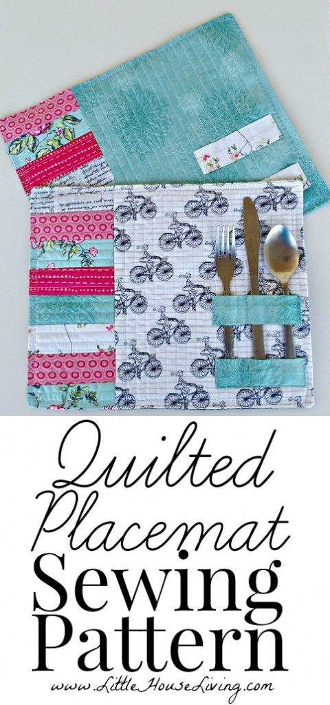 easy quilted placemat pattern tutorial little house living Cool Quilting Placemat Patterns
