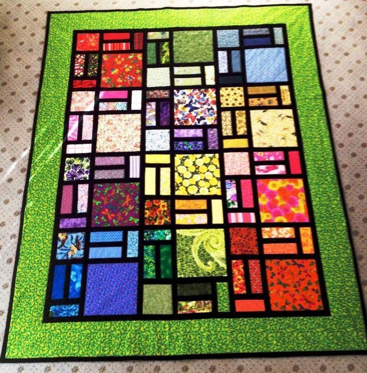 easy stained glass quilt in green bluprint Cool Stained Glass Quilt Pattern Inspirations