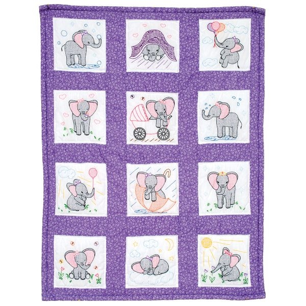 elephants nursery quilt blocks Interesting Jack Dempsey Needle Art Baby Quilts