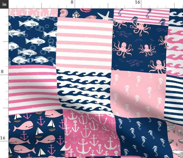 fabric the yard nautical wholecloth cheater quilt fabric navy and pink fabric Unique Cheater Quilt Fabric