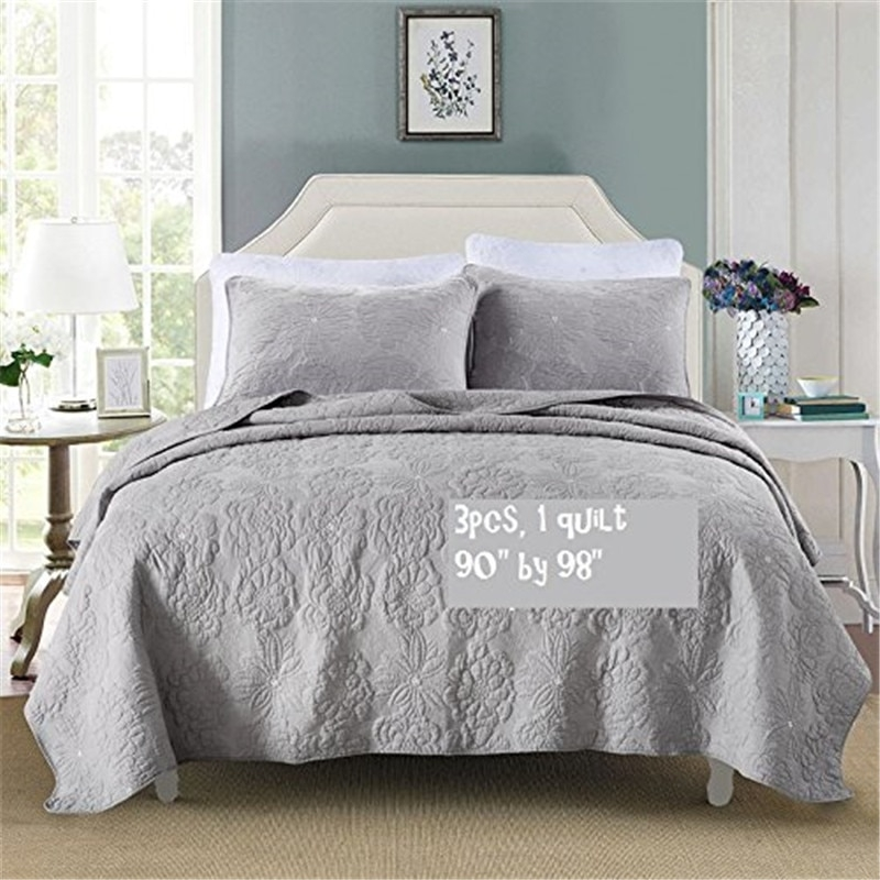fadfay 100 egyptian cotton grey luxury vintage quilted Interesting Vintage Quilt Sets Inspirations
