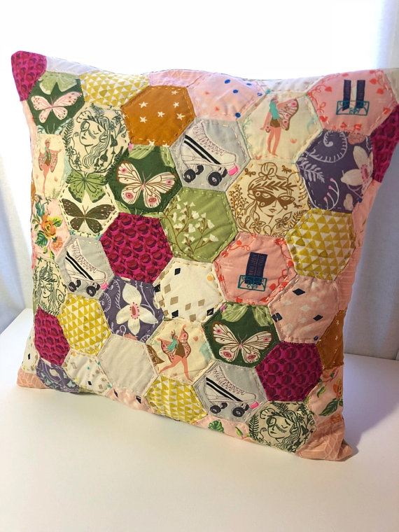 fairytale quilted pillow case hexagon paper pieced Stylish Quilted Pillow Cases Patterns