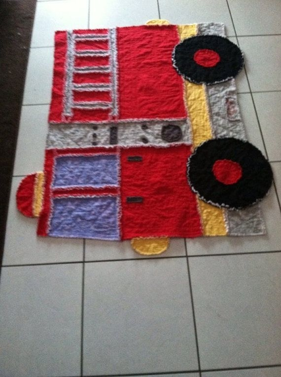 fire truck rag quilt grannyapplecreations on etsy Stylish Fire Truck Quilt Pattern Inspirations