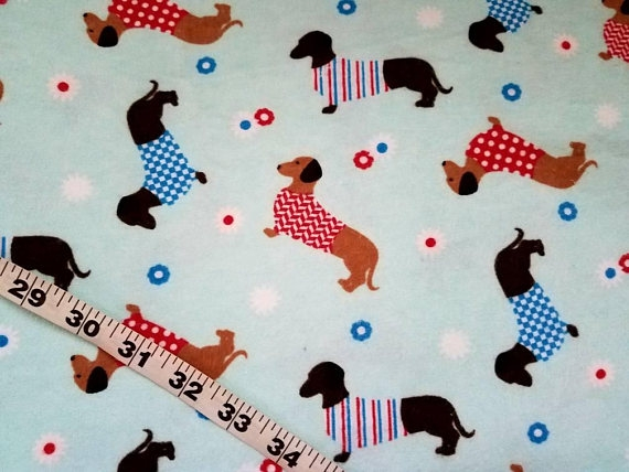 flannel fabric with dogs dachshund sweater flower cotton Stylish Flannel Quilting Fabric Gallery