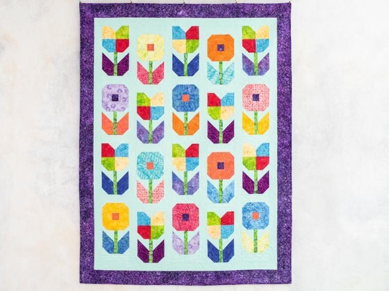 flower power batiks kaleidoscope quilt kit bluprint Modern Flower Power Quilt Pattern Gallery