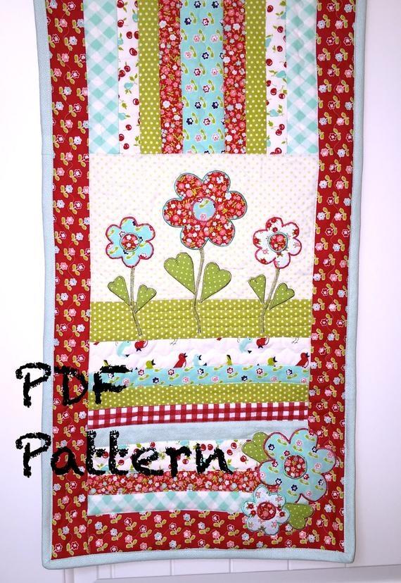 flower quilt pattern table runner quilt pattern applique pattern mug rug pattern quilt pattern pdf pattern spring quilt pattern Interesting Applique Quilt Patterns Flowers
