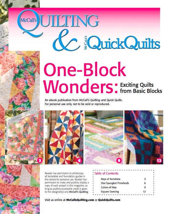 free downloadable ebook of 4 one block quilt patterns from Interesting Mccalls Quilting Patterns Free