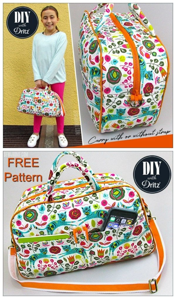 free duffle bag or bowling style bag sewing pattern small Stylish Quilted Duffle Bag Pattern