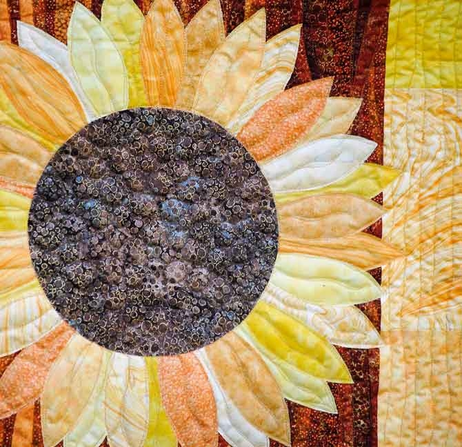 free motion quilting the sunflower quilt quiltsocial Cozy Sunflower Quilt Patterns Free