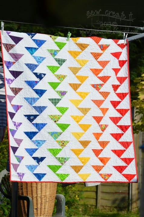 free pattern rainbow migrating geese quilt from sew create Cool Migrating Geese Quilt Pattern