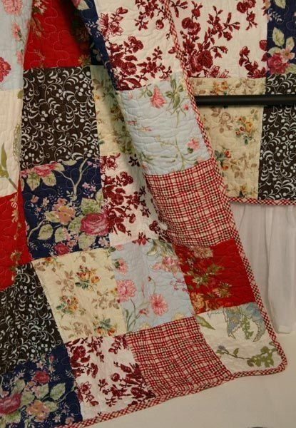 french country cottage red blue quilt throw detail emilia Interesting French Country Quilt Patterns Gallery