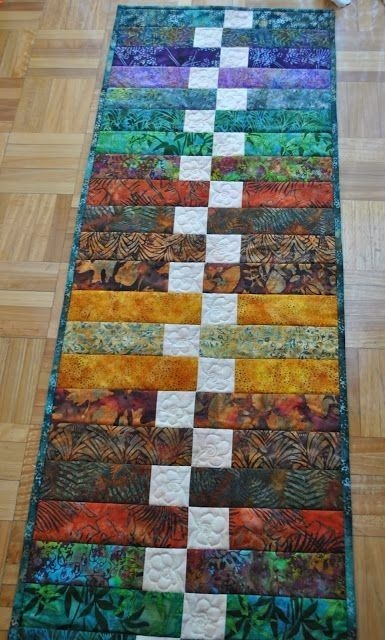 great use of strips and scraps craft projects table Modern Quilted Table Runner Patterns Gallery