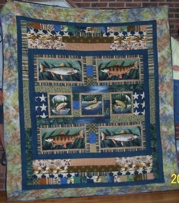 handmade custom gone fishing themed quilt songs and stitches Interesting New Fish Fabric For Quilting