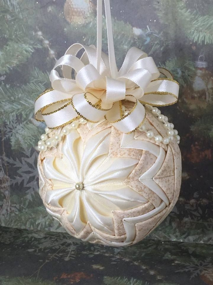 handmade no sew quilted ornament in ivory quilted Cool No Sew Quilted Ornaments Gallery