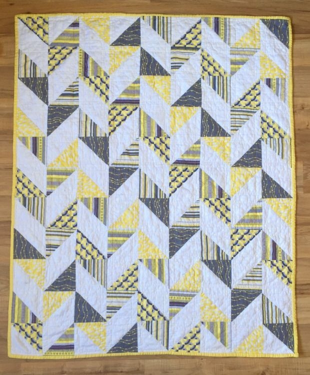 herringbone half square triangle ba quilt crafty half Elegant Triangle Baby Quilt Pattern Inspirations